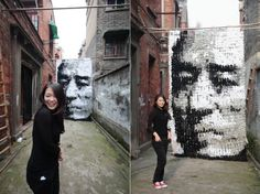 Portrait made out of 750 pairs of socks...