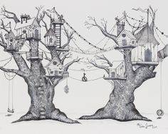 """A Kid Can Dream"" by Tina Gunn, via Behance Drawing Sketches, Art Drawings, Sketching, Ink Illustrations, Illustration Art, Tree House Drawing, Stylo Art, Pen Art, Art Studies"