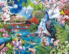 #Peacock Garden #JigsawPuzzles- Absolutely Beautiful! http://jigsawpuzzlesforadults.com/peacock-jigsaw-puzzles/