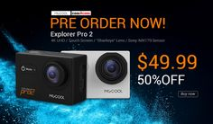 Pre-order MGCOOL 4K Action Camera Explorer Pro 2 for $49.99, 50% OFF, MGCOOL Explorer Pro 2, 170-degree HD wide-angle, 50% discount offer, 4K videos, 2-inch HD touch.
