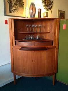 Mid-century Danish Corner Bar Cabinet with Tambour Doors. Beautiful example of Danish mid century modern furniture at its finest | Red Snapper Portland, OR