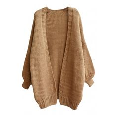 Open Front Loose Sleeve Open Front Cardigan ($37) ❤ liked on Polyvore featuring tops, cardigans, outerwear, loose fitting tops, open front tops, loose fit tops, brown tops and cut loose tops
