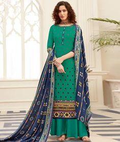 Blue Pashmina Palazzo Suit 211248