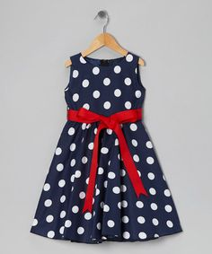 Another great find on #zulily! Blue Polka Dot Bow Dress - Infant, Toddler & Girls #zulilyfinds