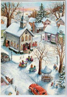 Beautiful illustration by Susan Wheeler! Christmas Scenes, Noel Christmas, Vintage Christmas Cards, Christmas Pictures, Christmas Morning, Susan Wheeler, Illustration Noel, Christmas Illustration, Vogel Gif