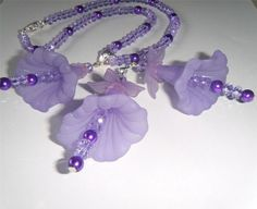 "Lilac flower bead necklace & earrings, crystals & large frosted flowers - necklace is 17.1/2"" long"
