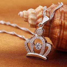 Elegant Cute Crystal Crown Women's Fashion Sterling Silver Necklace