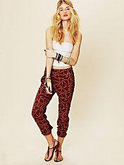 Love this trend! Printed harem pants.