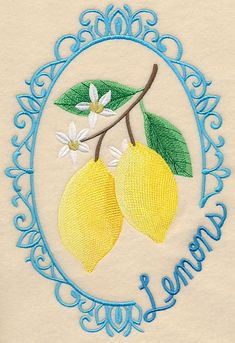 Free Embroidery Design: Lemons