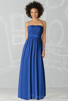Ruched Chiffon Column Modest Bridesmaid Dress Blue