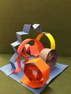 "Paper sculpture grade Art @ Massac ALSO MATH - polygons/fractions - fold strips in etc. and make ""polygon sculptures"". Paper Art, Paper Crafts, Cut Paper, 3rd Grade Art, Ecole Art, School Art Projects, 3d Art Projects, School Ideas, Art Lessons Elementary"