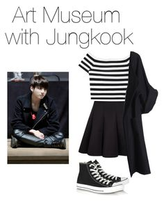A fashion look from May 2016 featuring off the shoulder tops, oversized coats and short pleated skirt. Browse and shop related looks. Korean Fashion Kpop, Korean Street Fashion, Kpop Fashion Outfits, Korean Outfits, Cute Comfy Outfits, Simple Outfits, Casual Outfits, Dance Outfits, Girl Outfits