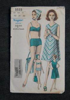 60's Vogue 5533 Sewing Pattern // Misses' Reversible 2 Piece Bathing Suit, Beach Dress, Bag, and Scarf Size 10 Bust 31