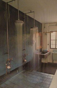 open shower. industrial.