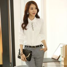 Promotion new 2014 spring slim female long-sleeve turn down collar beading slim professional women chiffon shirt free shipping