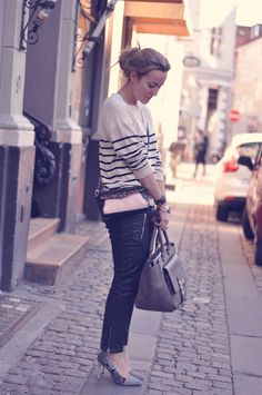Stripes, leather and dusty pink