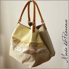 Tote with gold leather and glitter by Muse de Provence. Hand made French one-of-a-kind bag.