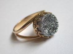 Gray Druzy ring - Bridal ring - 14k Gold ring - Drusy ring, Silver stone ring, 10 mm stone,  Vintage ring, Cocktail ring, bridesmaid gift