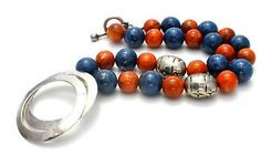 Blue Lapis Luzuli Orange Dragon Veins Agate Necklace Sterling Silver Beads Gator in Jewelry & Watches, Vintage & Antique Jewelry, Fine, Retro, Vintage 1930s-1980s, Necklaces & Pendants   eBay