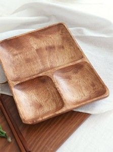 Acacia three-compartment dividing plate