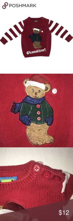 Teddy Bear Christmas Sweater by Greendog This Greendog Toddler Boys Christmas Teddy Bear Sweater is in EXCELLENT used condition. Only worn once! Red & White Striped Sleeves show off the festive colors! Appliquéd Brown Faux Fur Teddy Bear wearing a Green Sweater, Navy Blue Scarf and Santa Hat! How adorable?!? Pullover style sweater with 3 Buttons on Shoulder. Made of 100% Cotton. Bundle and Save! Greendog Shirts & Tops Sweaters
