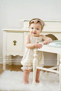 Vintage Style Ivory Lace Baby Romper Lined in Organic Cotton Jersey. in Sizes newborn up to 24 months on Etsy, $52.00