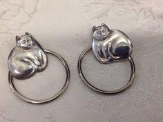 Sterling Silver 925 Fat Cat Pierced Earrings With Ring Hoops - Cat Lover 😻  | eBay