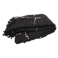 THR01559 Black Texture with Taupe Detail & Fringe