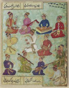 1685 12 musicians playing 'sarangi, kupuz, kamancha,' drums, panpipes, flute, 'vina' and tambourine. Deccani Saqinama by Nur al-Din Muhammad Tahir Zuhuri BL Or. 338 f.54v