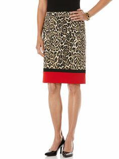 Printed Ponte Leopard Colorblock Skirt; Color-block never goes out of style #holidaycontest #rafaellastyle