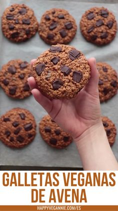 Healthy Cookies, Healthy Treats, Choco Chip Cookies, Chocolate Oatmeal Cookies, Delicious Vegan Recipes, Cooking Recipes, Snacks, Plant Based, Food