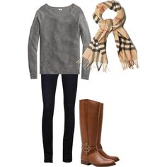Tory Burch boots & Burberry Scarf <3