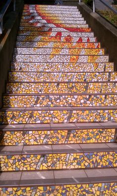 Mosaic steps, yellows