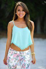Summer Lovin' Crop Top: Mint Lace