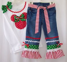 Custom boutique Disney Minnie Mouse Christmas jeans & shirt all sizes available #Holiday