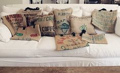 very cool! coffee bean bags turned into pillows