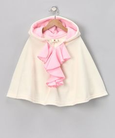 Take a look at this Ivory & Pink Ruffle Hooded Poncho - Infant, Toddler & Girls by Million Polkadots on #zulily today!