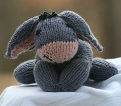 Crochet Stuffed Toys Free Knitting Pattern for Eeyore Toy - Animal Knitting Patterns, Stuffed Animal Patterns, Crochet Patterns, Amigurumi Patterns, Fabric Patterns, Crochet Ideas, Cute Crochet, Crochet Toys, Knit Crochet