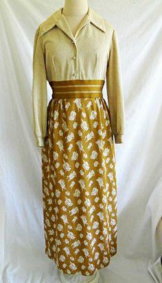 fe5855e6bd2c Vintage 60s Maxi Dress Evening Gown Gold Metallic Mixed Print Saks