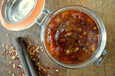 Mango chutney with a hint of kick. This is a sweet, fragrant and spicy mango chutney. Pairs well with cheese and all manner of Indian food. Indian Food Recipes, Asian Recipes, Ethnic Recipes, Indian Chutney Recipes, Chutneys, Spicy Mango Chutney Recipe, Comida India, Dips, Indian Appetizers