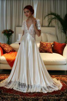 Bridal Nightgown Amelia Satin Embroidered Lace Wedding Lingerie Bridal Sleepwear Champagne Satin Bridal Gown Trousseau Sleepwear Honeymoon