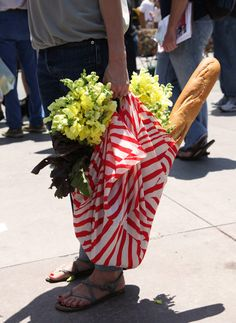 flowers, baguette, red & white stripes...