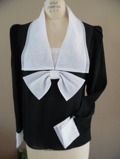 ba7e4b23c8e77 RESERVED FOR LIDIA - Vintage 1980s Sheer Black and White Organza Sailor  Inspired Blouse
