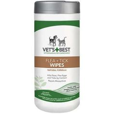 "Vet's Best Dog Flea and Tick Wipes 50 count White 3.3"""" x 3.3"""" x 8"""""