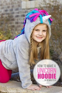 Make a UNICORN HOODIE...in 30 minutes! | via www.makeit-loveit.com