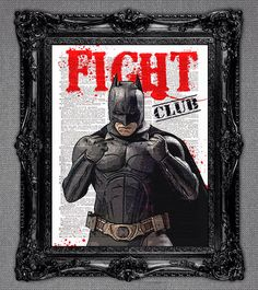 Batman dictionary art print. Join the Superhero Fight Club - page print 8x10 upcycled page print. by DictionaryPagePrints on Etsy https://www.etsy.com/listing/181471089/batman-dictionary-art-print-join-the