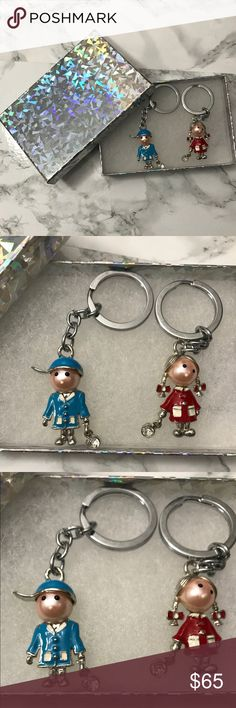 ❤NWOT️ Couple Key chains❤️ With Valentine's Day round the corner, this would be a great gift! This collection is 15 years old and had been stored away all this while! Beautiful, never used, will come in a gift box but not the same shown in pictures. May have very small to no imperfections - like fading or a small spot of no paint from rubbing against each other, if any! Please ask me before purchase so I can examine and confirm! Accessories Key & Card Holders