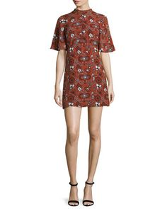 Spencer Short-Sleeve Floral Silk Mini Dress, Henna/Black/White by A.L.C. at Neiman Marcus.
