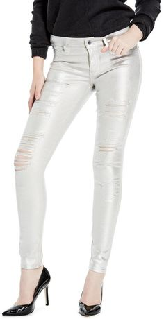 GUESS Women's Sexy Curve Metallic Destroyed Jeans