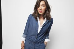 Denim overall on a classic white shirt: Styling by Virginie Peny for La Redoute